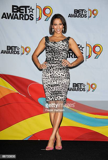 Actress Paula Patton poses in the press room during the 2009 BET Awards held at the Shrine Auditorium on June 28 2009 in Los Angeles California