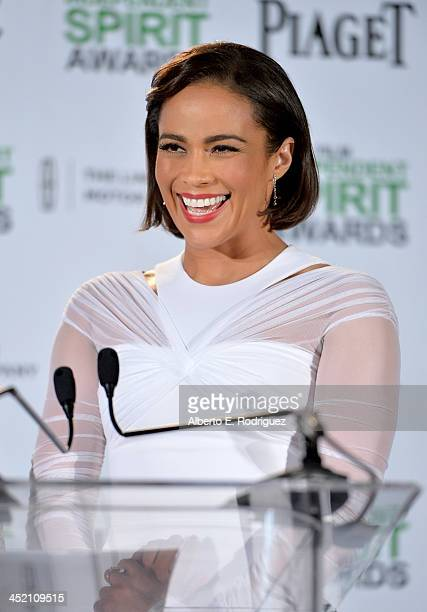 Actress Paula Patton speaks onstage at the 2014 Film Independent Spirit Awards nominations press conference at W Hollywood on November 26 2013 in...