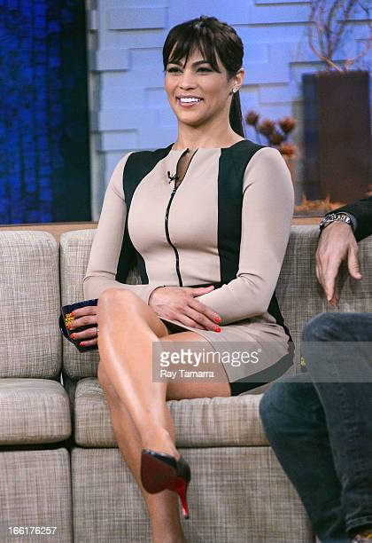 Actress Paula Patton tapes an interview at Good Morning America at the ABC Times Square Studios on April 9 2013 in New York City