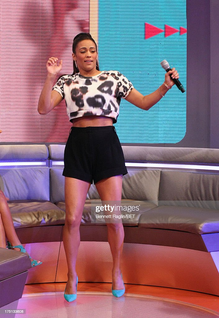 Actress Paula Patton visits BET's '106 & Park' at BET Studios on July 31, 2013 in New York City.