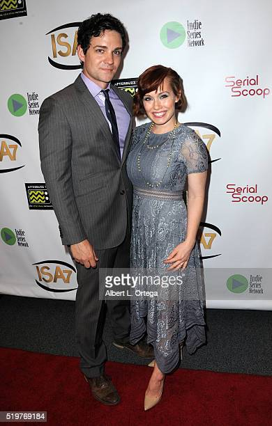 Actress Paula Rhoades with guest at the 7th Annual Indie Series Awards held at El Portal Theatre on April 6 2016 in North Hollywood California