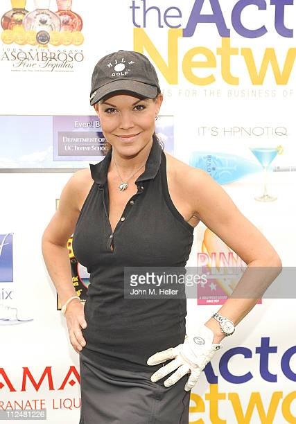 Actress Paula Trickey attends the 8th Annual Hack N' Smack Celebrity Golf Tournament at El Caballero Country Club on April 18 2011 in Tarzana...