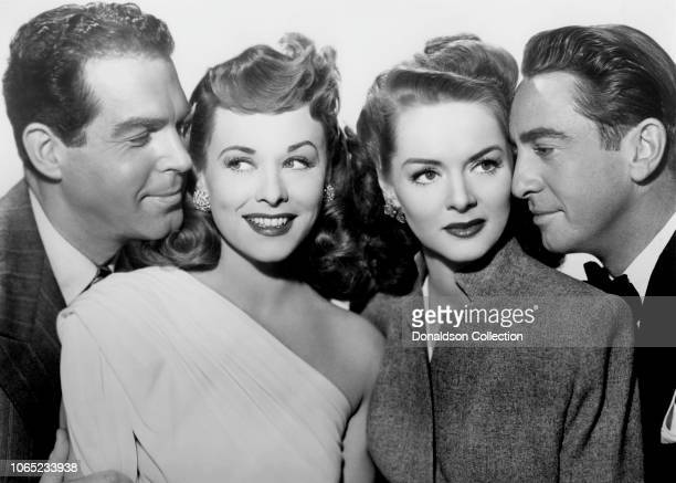 Actress Paulette Goddard Fred MacMurray Macdonald Carey Arleen Whelan in a scene from the movie 'Suddenly It's Spring'