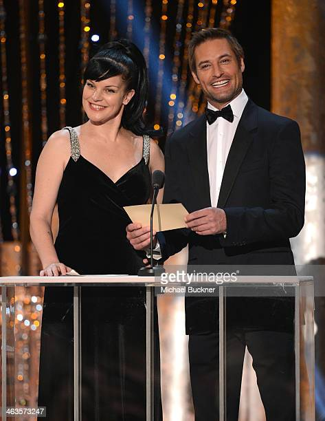 Actress Pauley Perrette and actor Josh Holloway speak onstage during 20th Annual Screen Actors Guild Awards at The Shrine Auditorium on January 18...