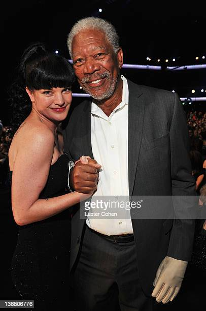 Actress Pauley Perrette and actor Morgan Freeman attend the People's Choice Awards 2012 at Nokia Theatre LA Live on January 11 2012 in Los Angeles...