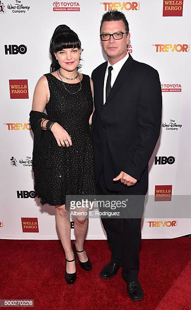 Actress Pauley Perrette and Thomas Arklie attend TrevorLIVE LA 2015 at Hollywood Palladium on December 6 2015 in Los Angeles California