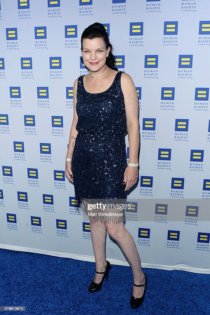 Actress Pauley Perrette arrives at the Human Rights Campaign 2016 Los Angeles Gala Dinner at JW Marriott Los Angeles at L.A. LIVE on March 19, 2016 in Los Angeles, California.