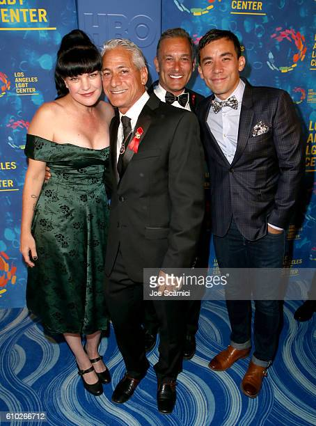Actress Pauley Perrette Olympic diver Greg Louganis Johnny Chaillot and actor Conrad Ricamora attend the Los Angeles LGBT Center 47th Anniversary...