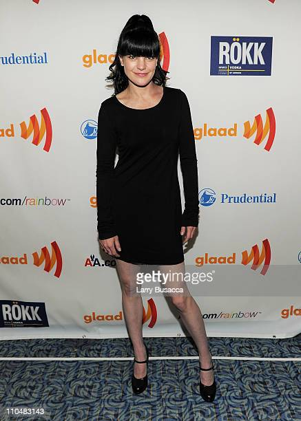 Actress Pauley Perrette poses at the 22nd Annual GLAAD Media Awards presented by ROKK Vodka at Marriott Marquis Times Square on March 19 2011 in New...