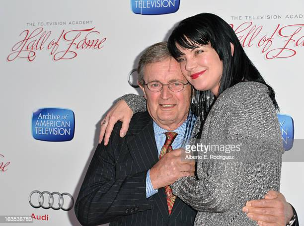 Actress Paulie Perrette and actor David McCallum attend the Academy of Television Arts Sciences' 22nd Annual Hall of Fame Induction Gala at The...