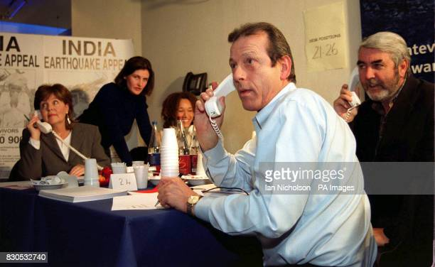 Actress Pauline Collins Big Brother contestants Anna Nolan and Melanie Hill actors Leslie Grantham and John Alderton on the telephone lines for the...