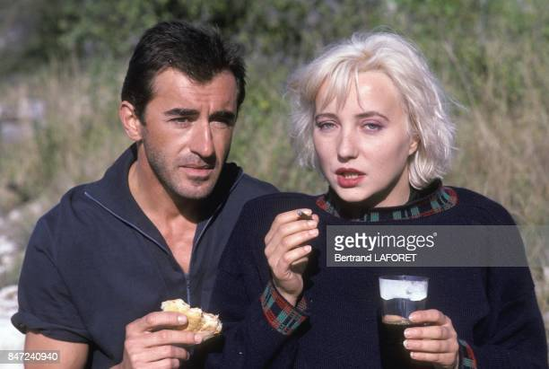 Actress Pauline Lafont with actor Cristophe Malavoy on set of French movie 'Deux minutes de soleil en plus' directed by Gerard Vergez in November...