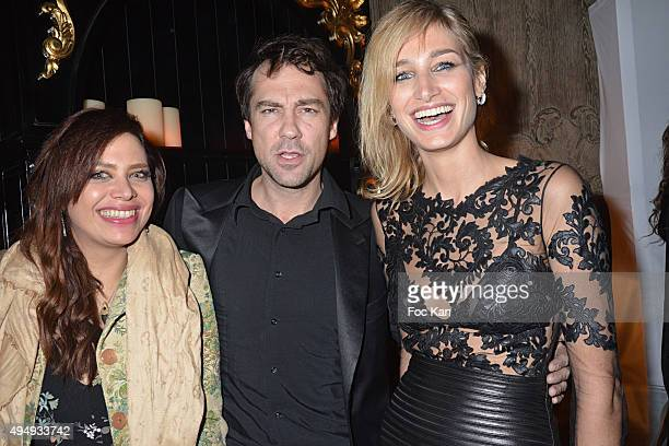 Actress Pauline Lefevre her husband director Julien Ansault and a guest attend 'Heritage Paris' Club Opening Party on October 29 2015 in Paris France
