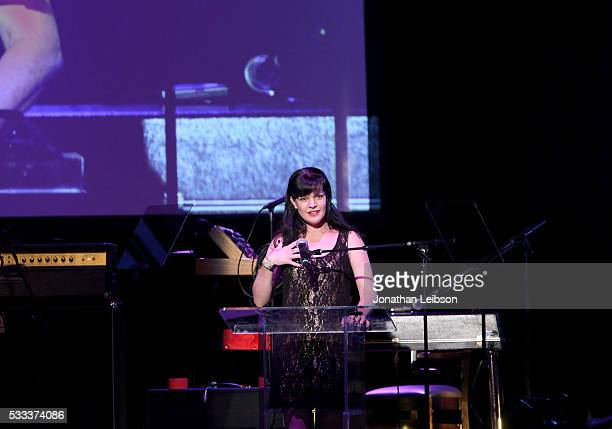 Actress Pauly Perrette speaks on stage at An Evening with Women benefiting the Los Angeles LGBT Center at the Hollywood Palladium on May 21 2016 in...