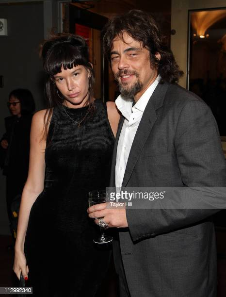 Actress Paz de la Huerta and actor Benicio del Toro attend the benefit screening of 'The Naked Island' at BAM Rose Cinemas on April 22 2011 in the...