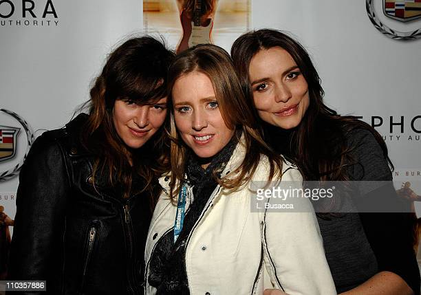 Actress Paz de la Huerta director Amy Redford and actress Saffron Burrows attend a cocktail party for The Guitar hosted by Solstice at the Hollywood...