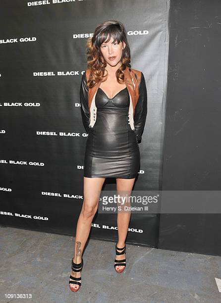 Actress Paz De La Huerta poses backstage at the Diesel Black Gold Fall 2011 fashion show during MercedesBenz Fashion Week at Pier 94 on February 15...
