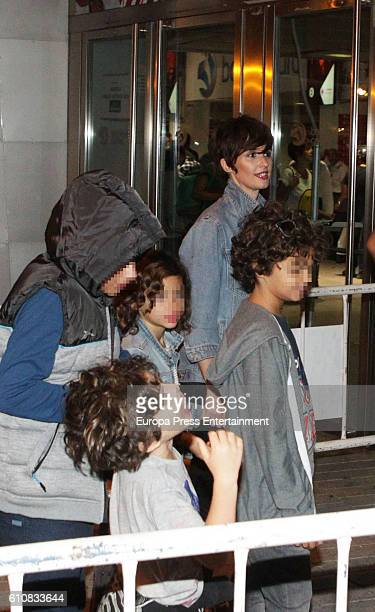 Actress Paz Vega and her kids Orson Salazar Lenon Salazar and Ava Salazar attend Red Hot Chili Peppers's concert at Barclaycard Center on September...