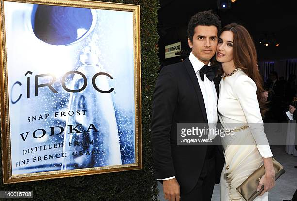 Actress Paz Vega and Orson Salazar attend CIROC Vodka at 20th Annual Elton John AIDS Foundation Academy Awards Viewing Party at The City of West...