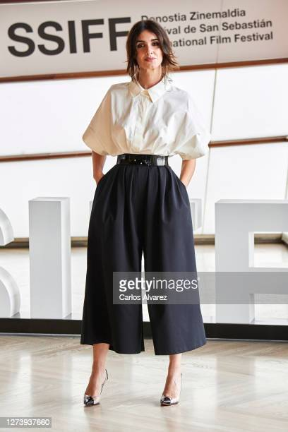 Actress Paz Vega attends 'El Lodo' photocall during the 68th San Sebastian International Film Festival at the Kursaal Palace on September 21, 2020 in...