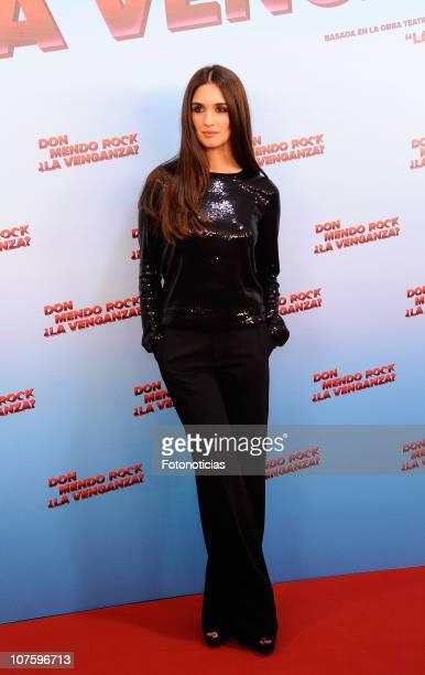 Actress Paz Vega attends the premiere of 'Don Mendo Rock La Venganza?' at Proyecciones Cinema on December 14, 2010 in Madrid, Spain.