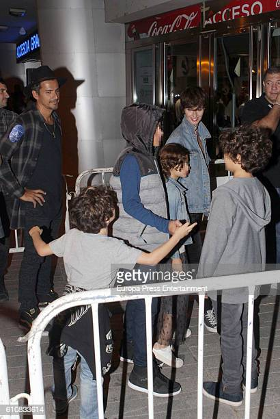 Actress Paz Vega her husband Orson Salazar and their kids Orson Salazar Lenon Salazar and Ava Salazar attend Red Hot Chili Peppers's concert at...