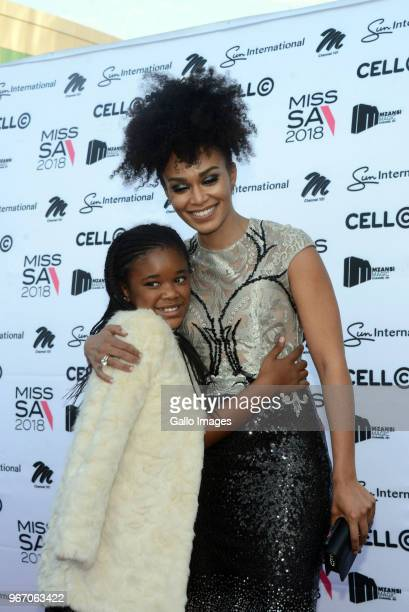 TV actress Pearl Thusi and daughter Thando Mokoena during the Miss SA 2018 beauty pageant grand finale at the Time Square Sun Arena on May 27 2018 in...