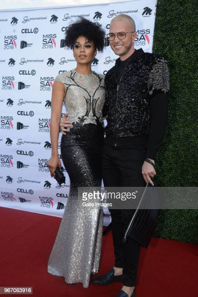 TV actress Pearl Thusi and Fashion designer Casper Bosman during the Miss SA 2018 beauty pageant grand finale at the Time Square Sun Arena on May 27...