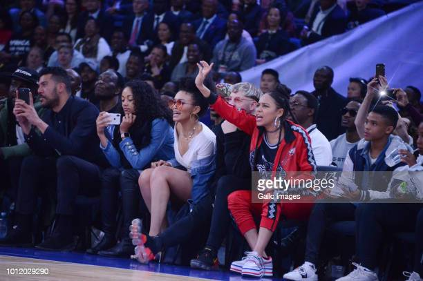 Actress Pearl Thusi and Rapper singer Sho Madjozi during the NBA Africa Game 2018 at Sun Arena Time Square on August 04 2018 in Pretoria South Africa...