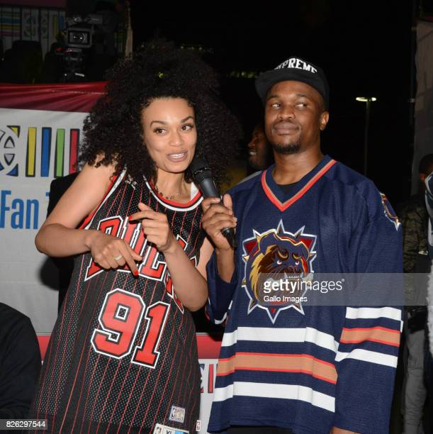 TV actress Pearl Thusi and TV personality Scoop Makhathini at the NBA Africa Celebrity Basketball Game on August 03 2017 in Johannesburg South Africa...