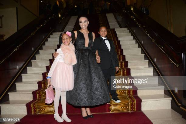 Actress Pearl Thusi with Larona Lehakwe Christopher Lesika Leatile Christopher during the Naledi Theatre Awards at the Lyric Theatre in Gold Reef...