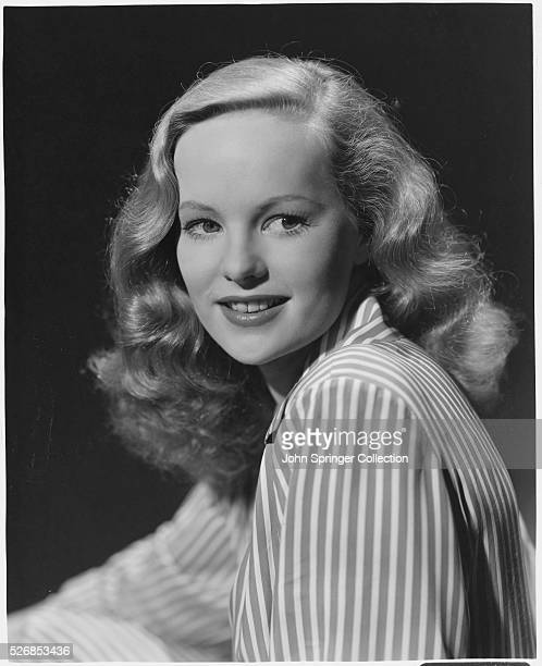 Actress Peggy Cummins in Striped Blouse