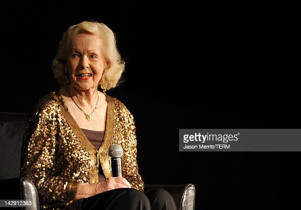 Actress Peggy Cummins speaks onstage during the introduction of the film 'Gun Crazy' at the 2012 TCM Classic Film Festival Day 2 at the Egyptian...