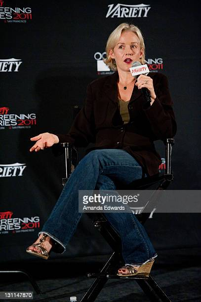 Actress Penelope Ann Miller participates in a QA session at the 2011 Variety Los Angeles Screening of 'The Artist' at ArcLight Cinemas on November 1...