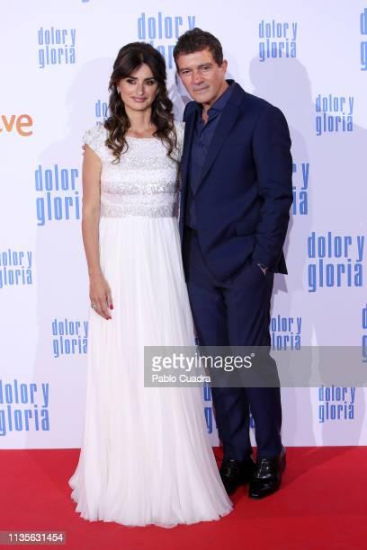 Actress Penelope Cruz and actor Antonio Banderas attend the 'Dolor y Gloria' premiere at Capitol cinema on March 13 2019 in Madrid Spain