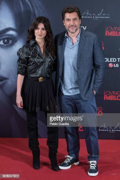 Actress Penelope Cruz and actor Javier Bardem attend 'Loving Pablo' photocall at Melia Serrano Hotel on March 6 2018 in Madrid Spain