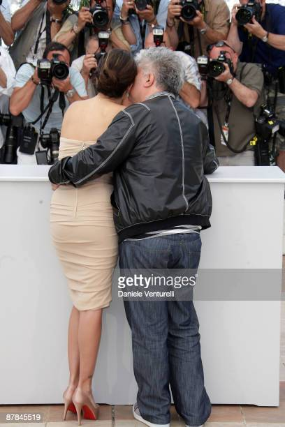 Actress Penelope Cruz and director Pedro Almodovar attend the 'Broken Embraces' Photo Call at the Palais Des Festivals during the 62nd Annual Cannes...