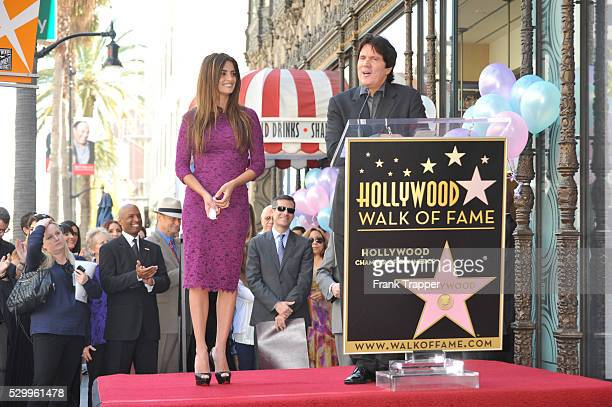 Actress Penelope Cruz and director Rob Marshall posing at her Star on the Hollywood Walk of Fame