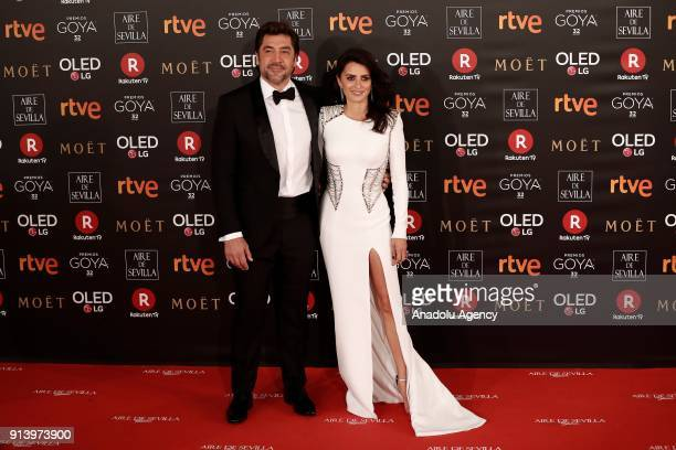 Actress Penelope Cruz and her husband Javier Bardem attend the 32th edition of the Goya Awards ceremony in Madrid Spain on February 04 2018