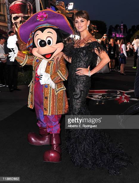 Actress Penelope Cruz and Mickey Mouse arrive at the world premiere of 'Pirates Of The Caribbean On Stranger Tides' at Disneyland on May 7 2011 in...