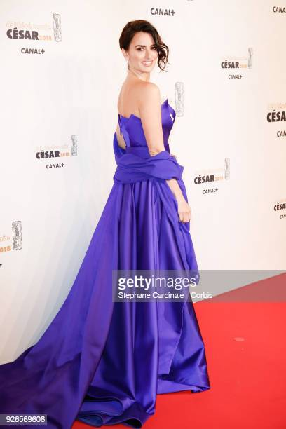 Actress Penelope Cruz arrives at the Cesar Film Awards 2018 at Salle Pleyel at Le Fouquet's on March 2 2018 in Paris France