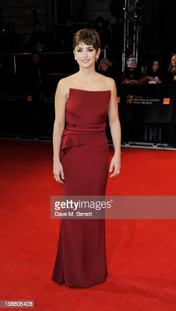 Actress Penelope Cruz arrives at the Orange British Academy Film Awards 2012 at The Royal Opera House on February 12 2012 in London England