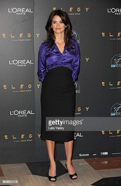 Actress Penelope Cruz attends a photocall for Elegy, at the Intercontinental Hotel on April 16, 2008 in Madrid, Spain.