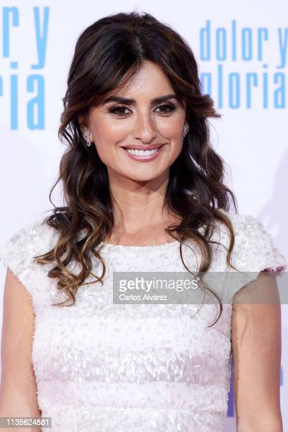 Actress Penelope Cruz attends 'Dolor y Gloria' premiere at the Capitol cinema on March 13 2019 in Madrid Spain