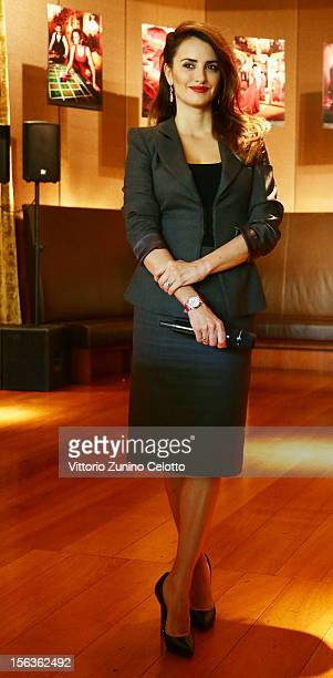 Actress Penelope Cruz attends the 2013 Campari Calendar unveiling press conference at Hotel Bulgari on November 13 2012 in Milan Italy