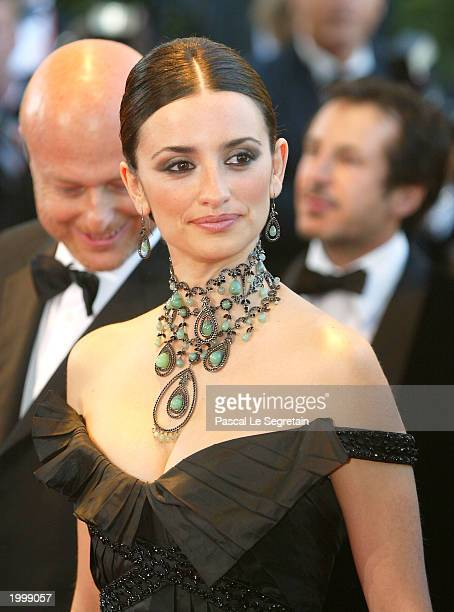 Actress Penelope Cruz attends the opening ceremony of the 56th International Cannes Film Festival 2003 and the premiere of 'FanFan La Tulipe' at the...