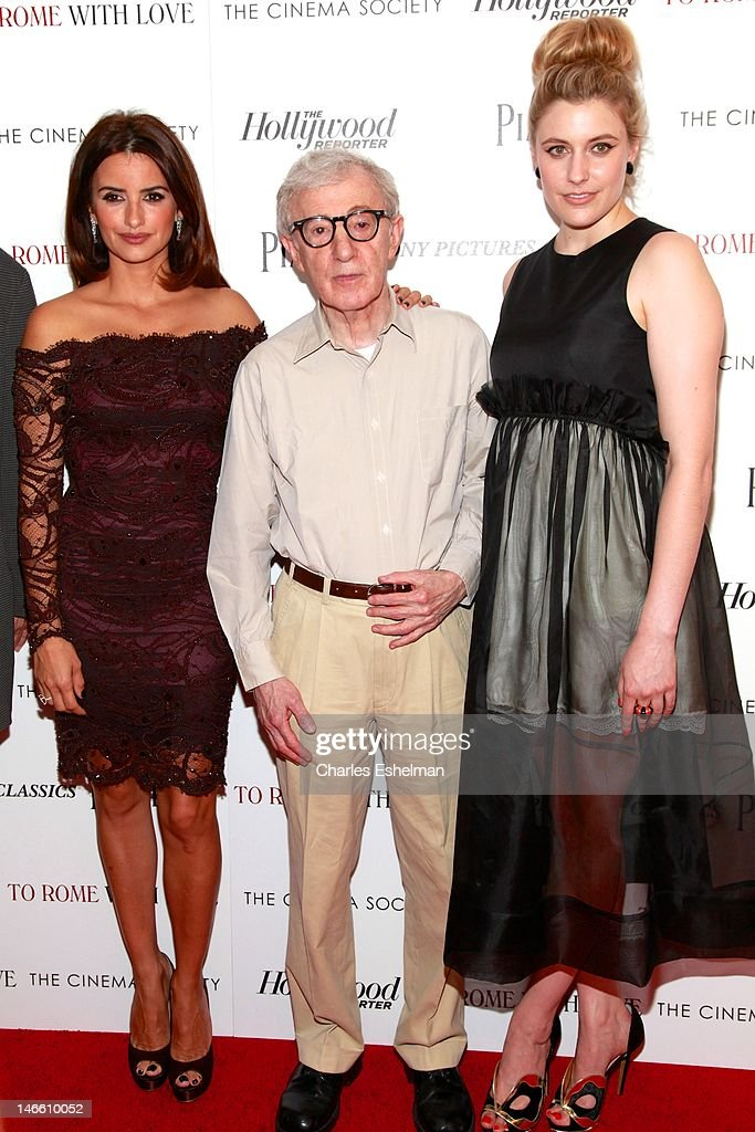Actress Penelope Cruz, director Woody Allen and actress Greta Gerwig attend The Cinema Society with the Hollywood Reporter & Piaget and Disaronno screening of 'To Rome With Love' at The Paris Theatre on June 20, 2012 in New York City.