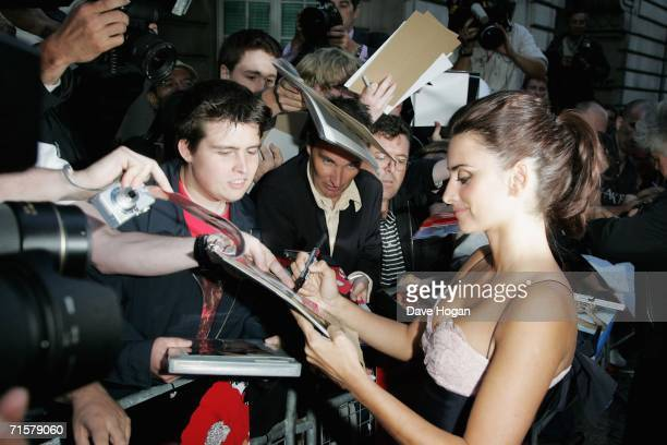 Actress Penelope Cruz meets fans at the UK premiere of Volver at Curzon Mayfair on August 3 2006 in London England