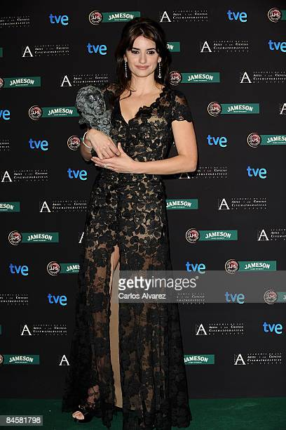Actress Penelope Cruz poses after receiving the best supporting actress award during the Goya Cinema Awards 2009 ceremony on February 01 2009 at the...