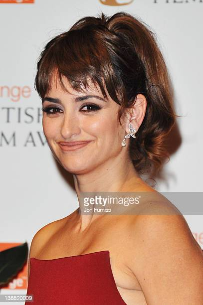 Actress Penelope Cruz poses in the press room during the Orange British Academy Film Awards 2012 at the Royal Opera House on February 12 2012 in...